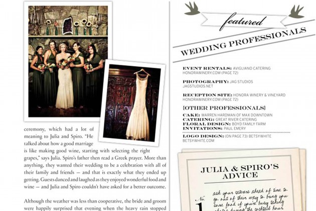 Featured | Julia + Spiro in Vermont Vows Magazine!
